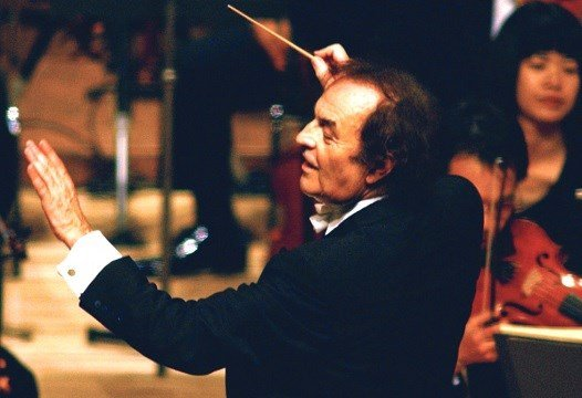 Conductor Charles Dutoit performs with NHK Symphony Orchestra in Tokyo, Japan.