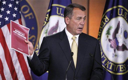 House Speaker John Boehner of Ohio speaks during a news conference on Capitol Hill in Washington, Thursday Oct. 13, 2011. (AP Photo/Manuel Balce Ceneta)