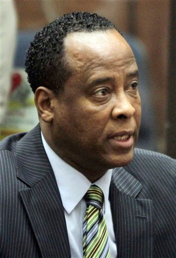 FILE - In this Jan. 25, 2011 file photo, Dr. Conrad Murray, singer Michael Jackson's personal physician, appears in Los Angeles Superior Court where Murray pleaded not guilty to a charge of involuntary manslaughter in the pop star's 2009 death.