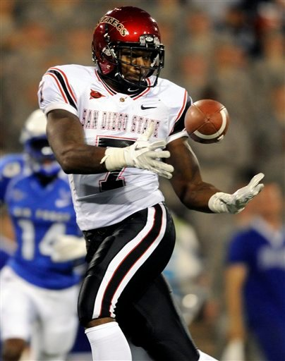 San Diego State tight end Alston Umuolo makes a 27-yard catch for a touchdown in the first quarter of an NCAA college football game against the Air Force, Thursday, Oct. 13, 2011, in Air Force Academy, Colo.