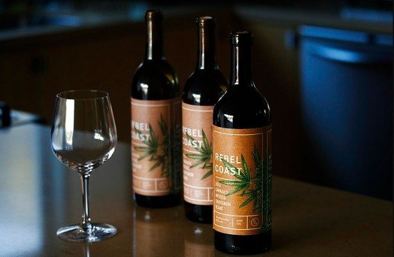 Rebel Coast Winery's cannabis-infused wine sits in Los Angeles.