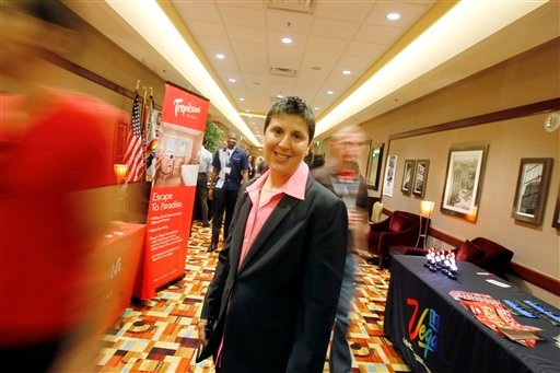 Charlie Morgan attends the OutServe Armed Forces Leadership Summit on Saturday, Oct. 15, 2011, in Las Vegas. Employers use the summit to recruit GLBT military personnel. (AP Photo/Isaac Brekken)