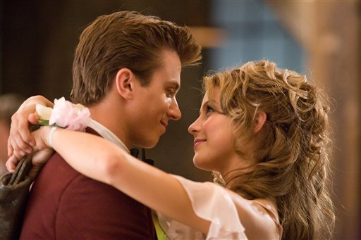 "In this image released by Paramount Pictures, Kenny Wormald, left, and Julianne Hough are shown in a scene from ""Footloose."" (AP Photo/Paramount Pictures, K.C. Bailey)"