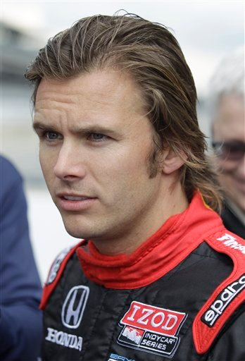 In this Sept. 27, 2011, file photo, Dan Wheldon talks about the 2012 IndyCar vehicle, at Indianapolis Motor Speedway in Indianapolis, Tuesday, Sept. 27, 2011. Wheldon died Sunday, Oct. 16, 2011 in a fiery 15-car wreck during the Las Vegas Indy 300. (AP)