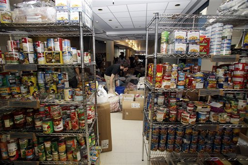 Supplies fill a storage space housed in an unused space donated by the United Federation of Teachers to support the camp of Occupy Wall Street protesters in New York, Sunday, Oct. 16, 2011. (AP Photo/David Karp)