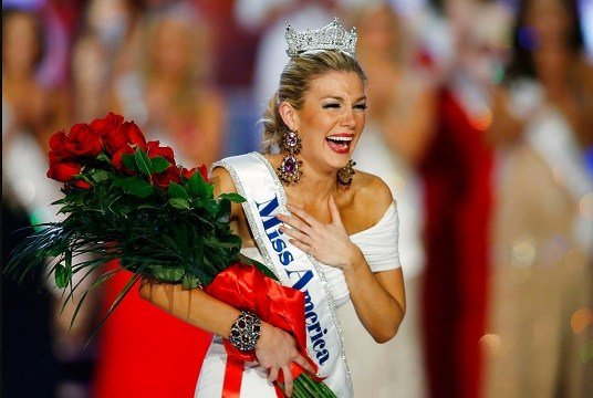 Miss New York Mallory Hytes Hagan reacts as she is crowned Miss America 2013 in Las Vegas.