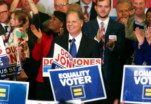 Democrat Doug Jones speaks in Birmingham, Ala.