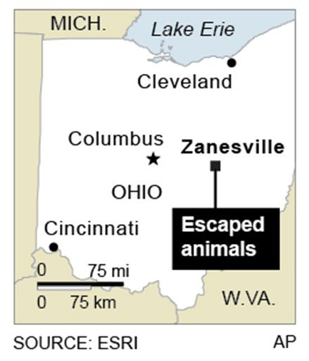 Map locates Zanesville, Ohio