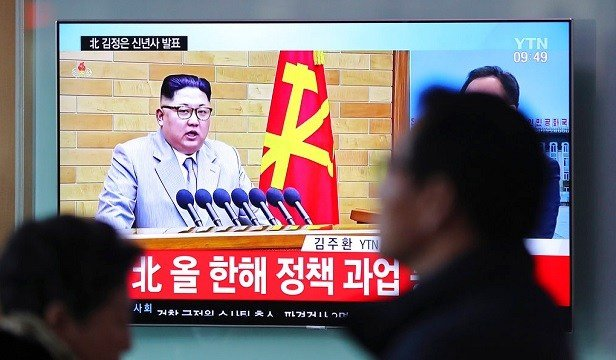 TV news program reporting about North Korean leader Kim Jong Un's New Year's speech.