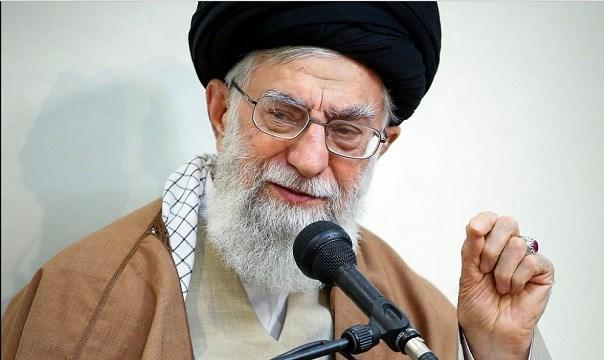 Supreme Leader Ayatollah Ali Khamenei speaks in a meeting, in Tehran, Iran.