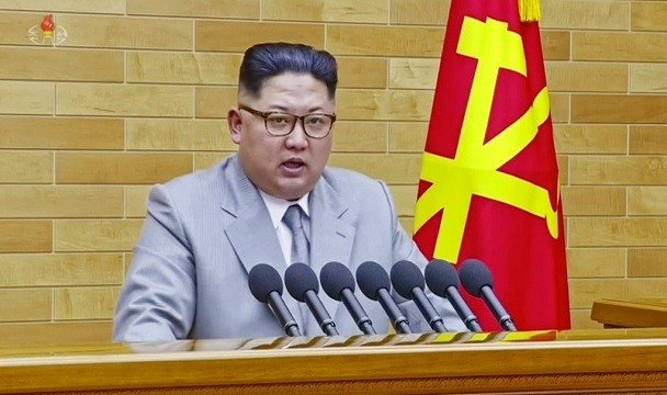 North Korean leader Kim Jong Un speaks in his annual address in undisclosed location, North Korea.