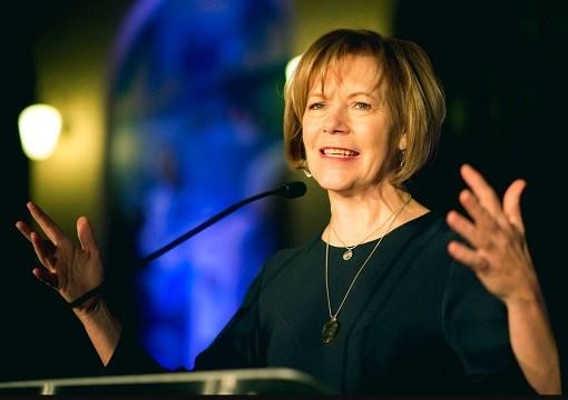 Minnesota Lt. Gov. Tina Smith speaks in St. Paul, Minn.