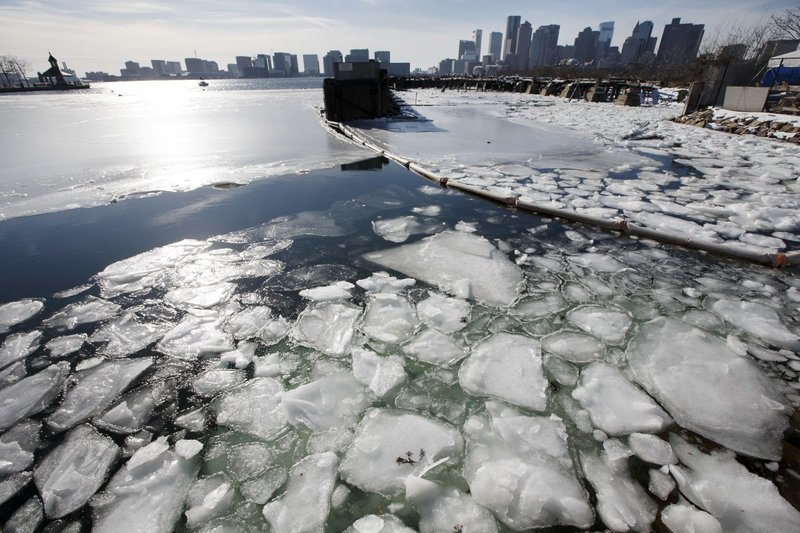 Sea ice floats in Boston Harbor, Wednesday, Jan. 3, 2018, in Boston. After a week of frigid temperatures, a major winter storm is predicted for the region on Thursday.