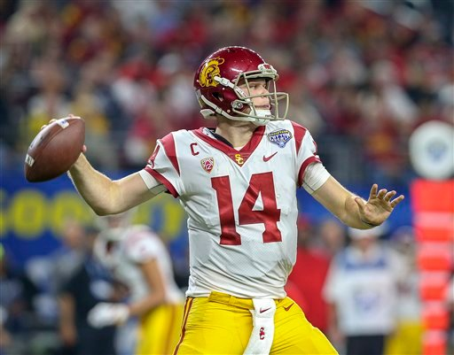 December 29, 2017: USC Trojans quarterback Sam Darnold (14) during the Goodyear Cotton Bowl Classic between the USC Trojans and the Ohio State Buckeyes at AT&T Stadium in Arlington, TX.