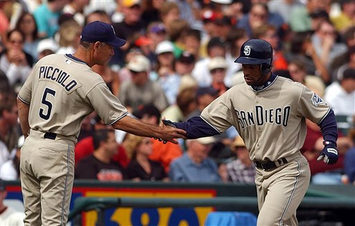 San Diego Padres' Jay Payton is congratulated by third base coach Rob Picciolo (5) after hitting a three- run home run off San Francisco Giants' Jason Schmidt in the seventh inning Saturday, Sept. 18, 2004, in San Francisco.