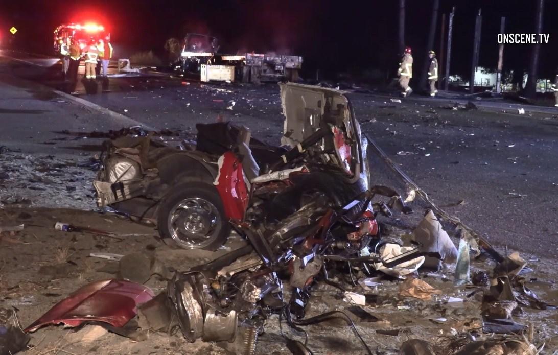One killed in fiery big rig crash