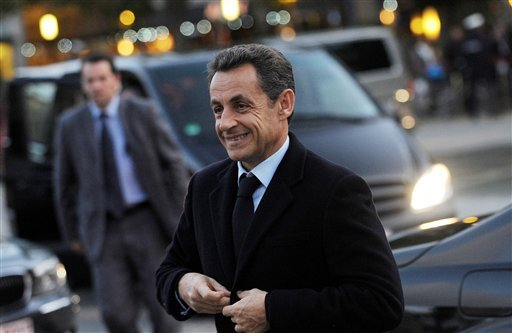 French President Nicolas Sarkozy arrives in Frankfurt, Germany, Wednesday, Oct. 19, 2011 to attend the farewell ceremonies for leaving President of the European Central Bank (ECB) Jean-Claude Trichet. (AP Photo/dapd, Thomas Lohnes)