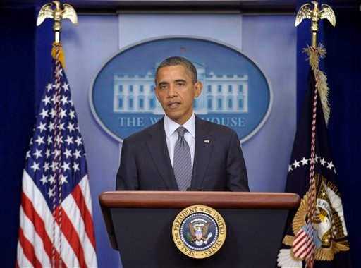 President Barack Obama speaks in the briefing room of the White House in Washington, Friday, Oct. 21, 2011, where he declared an end to the Iraq war.