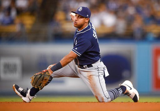 The Toronto Blue Jays acquired Solarte from the Padres on on Saturday, Jan 6, 2018, for prospects Edward Olivares and Jared Carkuff. (AP Photo/Kelvin Kuo, File)