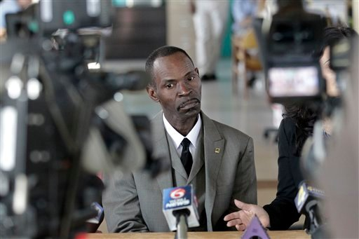Henry James, who was exonerated from a rape conviction for which he served thirty years in prison, speaks to reporters after being released from the Louisiana State Penitentiary in Angola