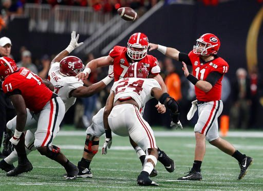 Georgia quarterback Jake Fromm throws during the second half of the NCAA college football playoff championship game Monday, Jan. 8, 2018, in Atlanta. (AP Photo/David Goldman)