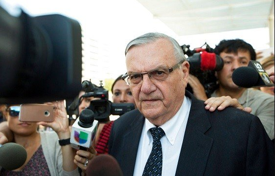 Former Sheriff Joe Arpaio leaves the federal courthouse in Phoenix, Ariz.