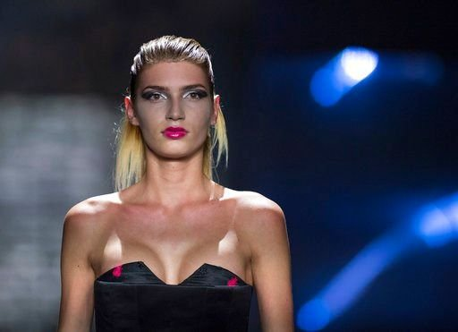 "The July 7, 2017 file photo shows model Giuliana who became well known with the show ""Germany's Next Topmodel"" during a fashion show in Berlin."