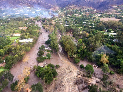 This photo provided by Ventura County Sheriff's Office shows an arial view of Montecito, Calif., with mudflow and debris due to heavy rains on Tuesday, Jan. 9, 2018. (Ventura County Sheriff's Office via AP)