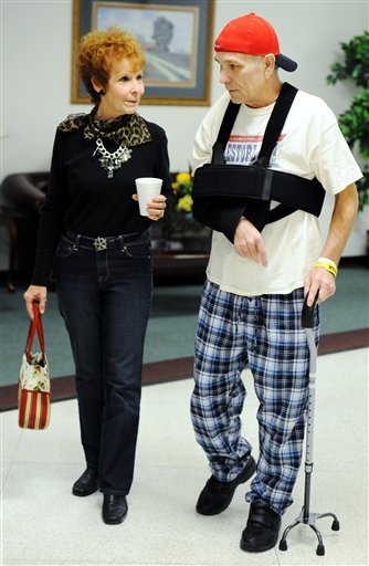 In this Oct. 3, 2011 file photo, Mark Lindquist, of Joplin, Mo., and his sister Linda Baldwin walk together prior to Lindquist's release from the Missouri Rehabilitation Center in Mount Vernon, Mo. (AP)