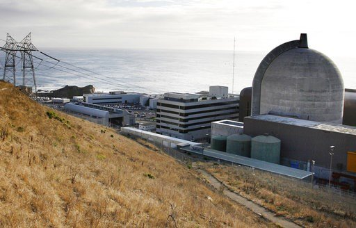 FILE - This Nov. 3, 2008, file photo shows one of Pacific Gas and Electric's Diablo Canyon Power Plant's nuclear reactors in Avila Beach, Calif.  (AP Photo/Michael A. Mariant, File)