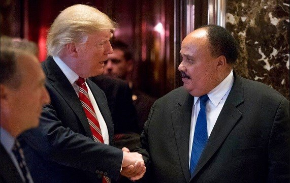 President-elect Donald Trump shakes hands with Martin Luther King III, son of Martin Luther King Jr.