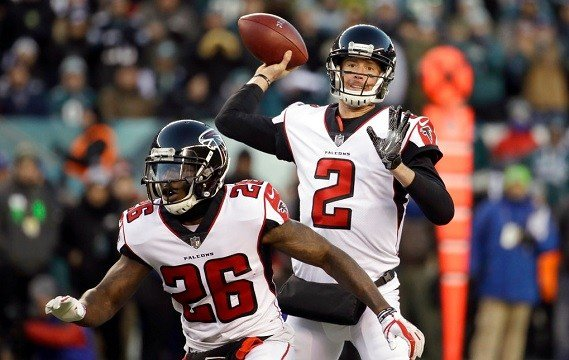 Atlanta Falcons' Matt Ryan passes during the first half of an NFL divisional playoff football game against the Philadelphia Eagles.
