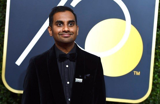 Aziz Ansari arrives at the 75th annual Golden Globe Awards at the Beverly Hilton Hotel in Beverly Hills, Calif.