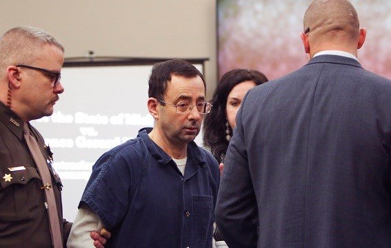 Larry Nassar arrives at court Tuesday, Jan. 16, 2018, for the first day of victim impact statements.