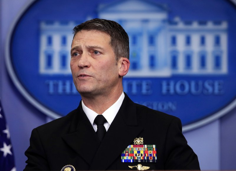 White House physician Dr. Ronny Jackson speaks to reporters during the daily press briefing in the Brady press briefing room at the White House, in Washington, Tuesday, Jan. 16, 2018.