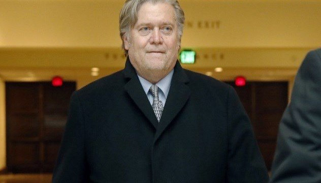 Former White House strategist Steve Bannon leaves a House Intelligence Committee meeting.