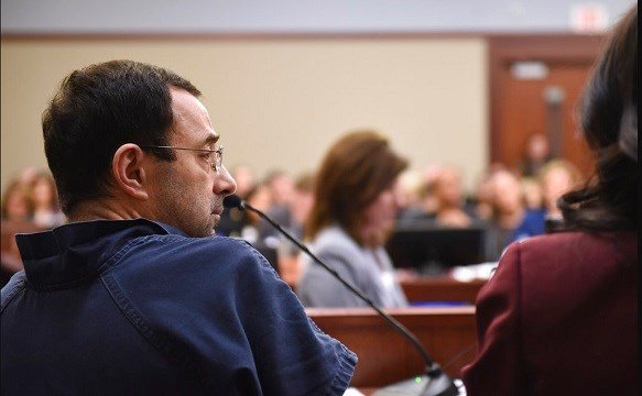 Larry Nassar sits in court during a sentencing hearing Thursday, Jan. 18, 2018.