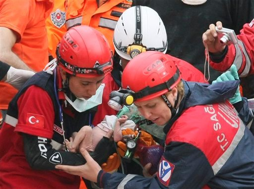 Turkish rescuers carry Azra Karaduman, a two-week-old baby girl they have saved from under debris of a collapsed building in Ercis, Van, eastern Turkey, Tuesday, Oct. 25, 2011. (AP)