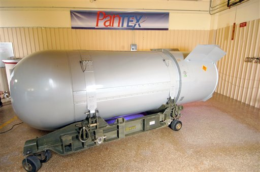 This undated handout photo provided by the National Nuclear Security Administration shows the United States' last B53 nuclear bomb. The 10,000-pound bomb is scheduled to be dismantled Tuesday, Oct. 25, 2011 at the Pantex Plant just outside Amarillo, Texas