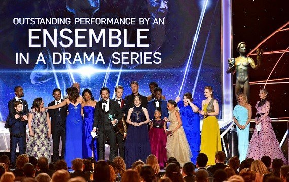 "The cast of ""This Is Us"" accepts the award for outstanding performance by an ensemble in a drama series at the 24th annual Screen Actors Guild Awards."