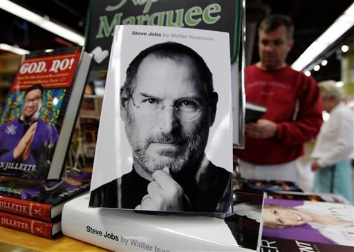 """The book """"Steve Jobs,"""" by Walter Isaacson is on display at a book shop in Menlo Park, Calif., Monday, Oct. 24, 2011."""