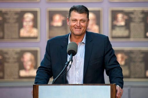 Former San Diego Padres closer Trevor Hoffman speaks during a news conference Wednesday, Jan. 24, 2018, in San Diego after he was elected to the baseball Hall of Fame.