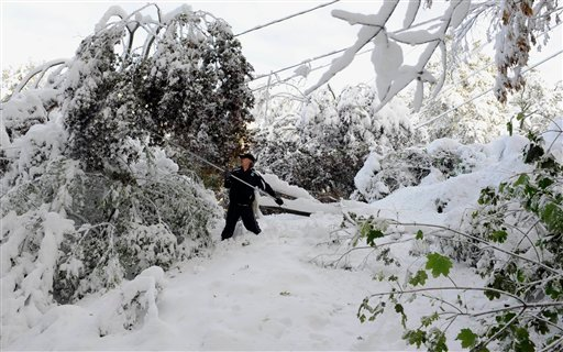 Jay Ericson clears snow of branches weighing down on power lines at his home following a snow storm a day earlier in Glastonbury, Conn., Sunday, Oct. 30, 2011. (AP Photo/Jessica Hill)