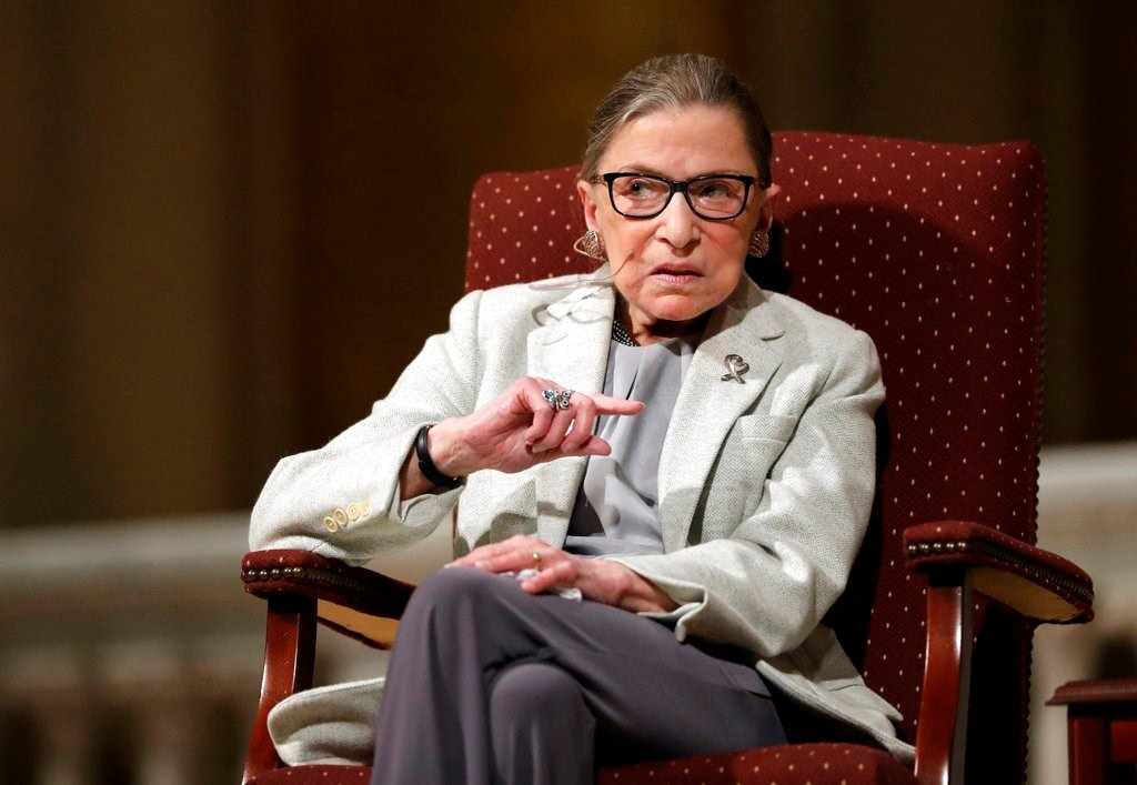 Feb. 6, 2017 file photo, Supreme Court Justice Ruth Bader Ginsburg speaks at Stanford University in Stanford, Calif. In different circumstances, Ginsburg might be on a valedictory tour in her final months on the Supreme Court. (AP Photo/Marcio Jose Sanche