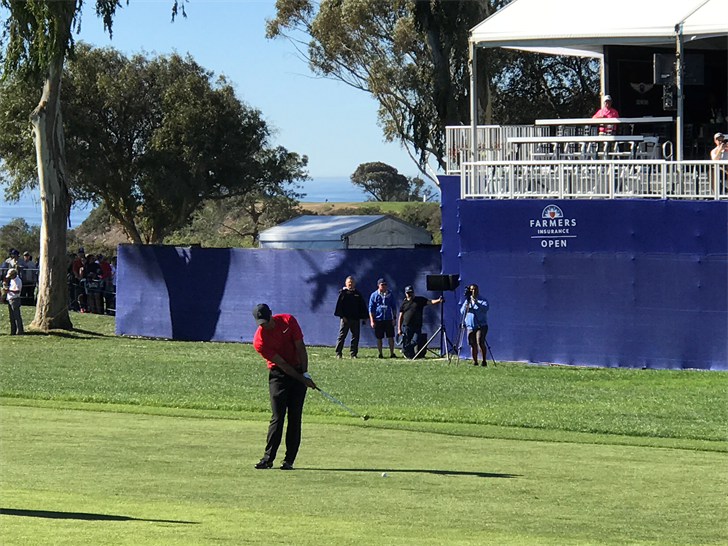 Tiger Woods played in the final round of the Farmers Insurance Open for the first time since winning the tournament in 2013.  (Photo by Paco Ramos, KFMB Interactive Editor)