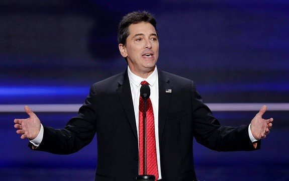 Scott Baio speaks during the opening day of the Republican National Convention in Cleveland.