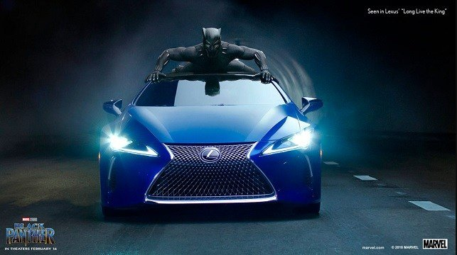 "This photo provided by Lexus shows an image of the Lexus ""Black Panther"" Super Bowl spot."