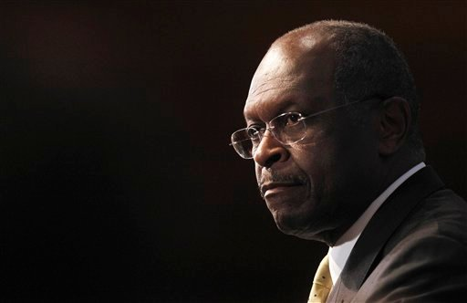 FILE - In this Oct. 31, 2011 file photo, Republican presidential candidate, Herman Cain speaks at the National Press Club in Washington.