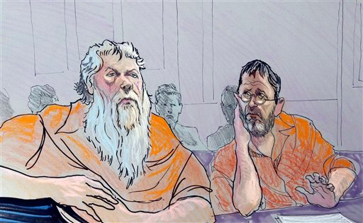Ray Adams, left, and Samuel Crump are shown in this artist rendering as he appear in a federal courtroom in Gainesville, Ga., Wednesday, Nov. 2, 2011.