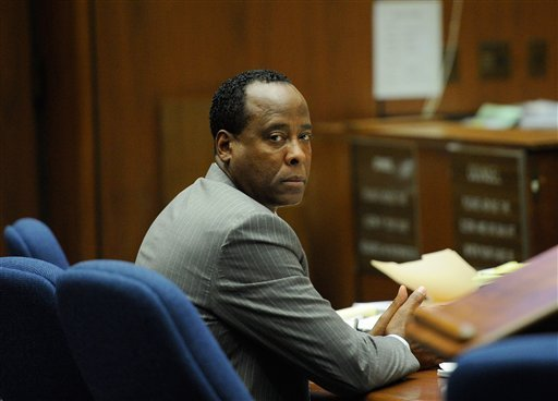 Dr. Conrad Murray looks on during the final stage of Conrad Murray's defense in his involuntary manslaughter trial in the death of singer Michael Jackson at the LA Superior Court Nov. 1, 2011 in Los Angeles. (AP Photo/Kevork Djansezian, Pool)